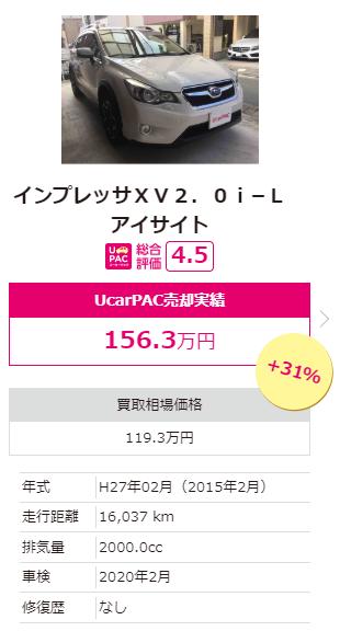 インプレッサXV2.0 ユーカーパック入札落札価格